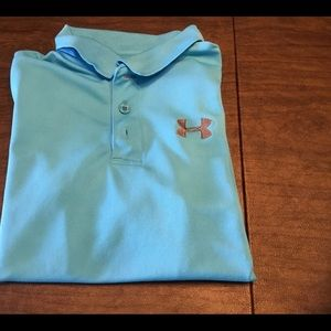 Under Armour Aqua blue polo golf shirt yth medium